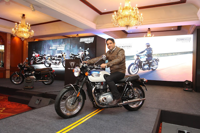 Launch of the all new Triumph Bonneville T100 by Mr. Vimal Sumbly, Manag.