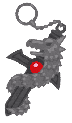 ドラゴンのキーホルダーのイラスト(シルバー)