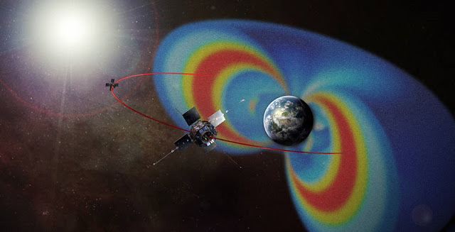 This artist's rendering of the Van Allen Probes mission shows the path of its two spacecraft through the radiation belts that surround Earth, which are made visible in false color. Credit: NASA