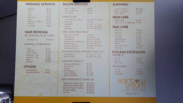 rainbow dream PRICE LIST AND MENU OF SERVICES