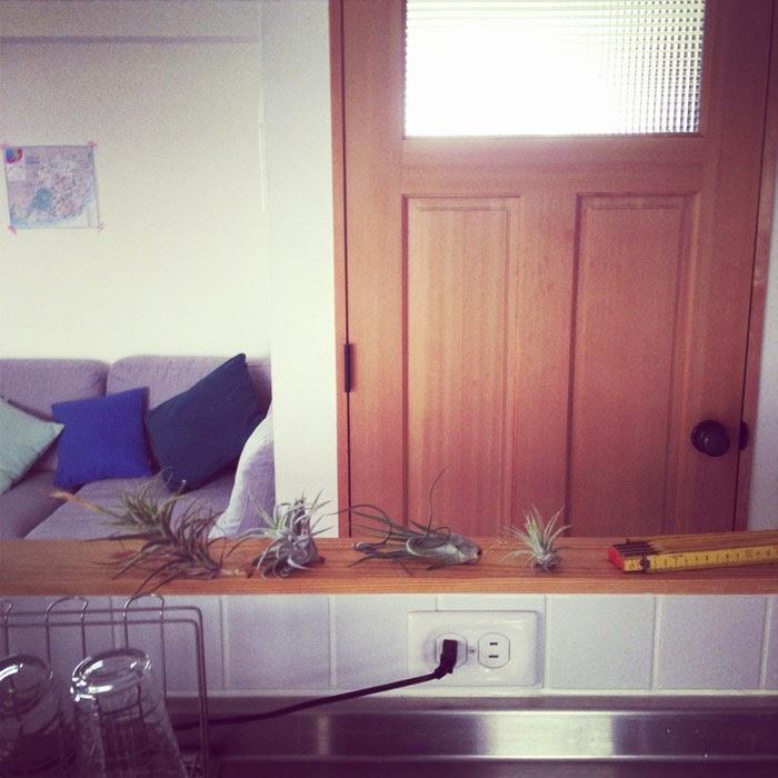 リノベーションマンションのキッチンとリビングのグレーのソファとjmaxの窓付きドア