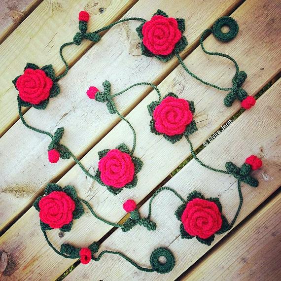 Rose flower garland Crochet Pattern