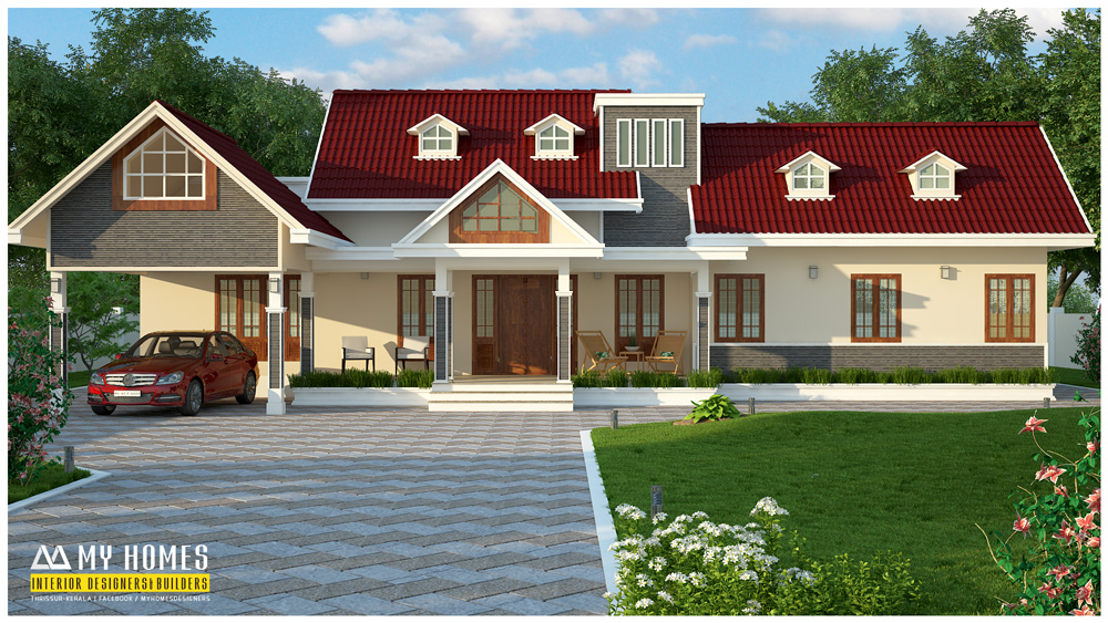 Budget classical 3 bedroom traditional colonial style home for Colonial style house plans kerala