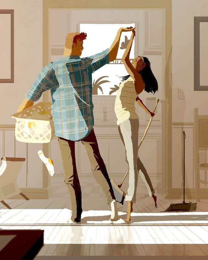 Man Creates Heartwarming Illustrations Of The Everyday Life With His Wife - Having fun even when doing the most boring chores