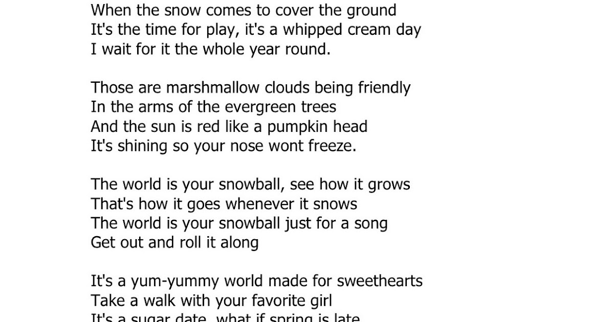 Marshmallow world in the winter lyrics