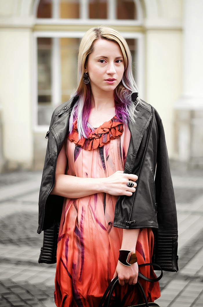 Pull & Bear leather jacket Stella McCartney silk dress