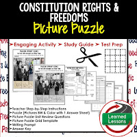 Constitutional Rights and Freedoms, Civics Test Prep, Civics Test Review, Civics Study Guide, Civics Interactive Notebook Inserts, Civics Picture Puzzles