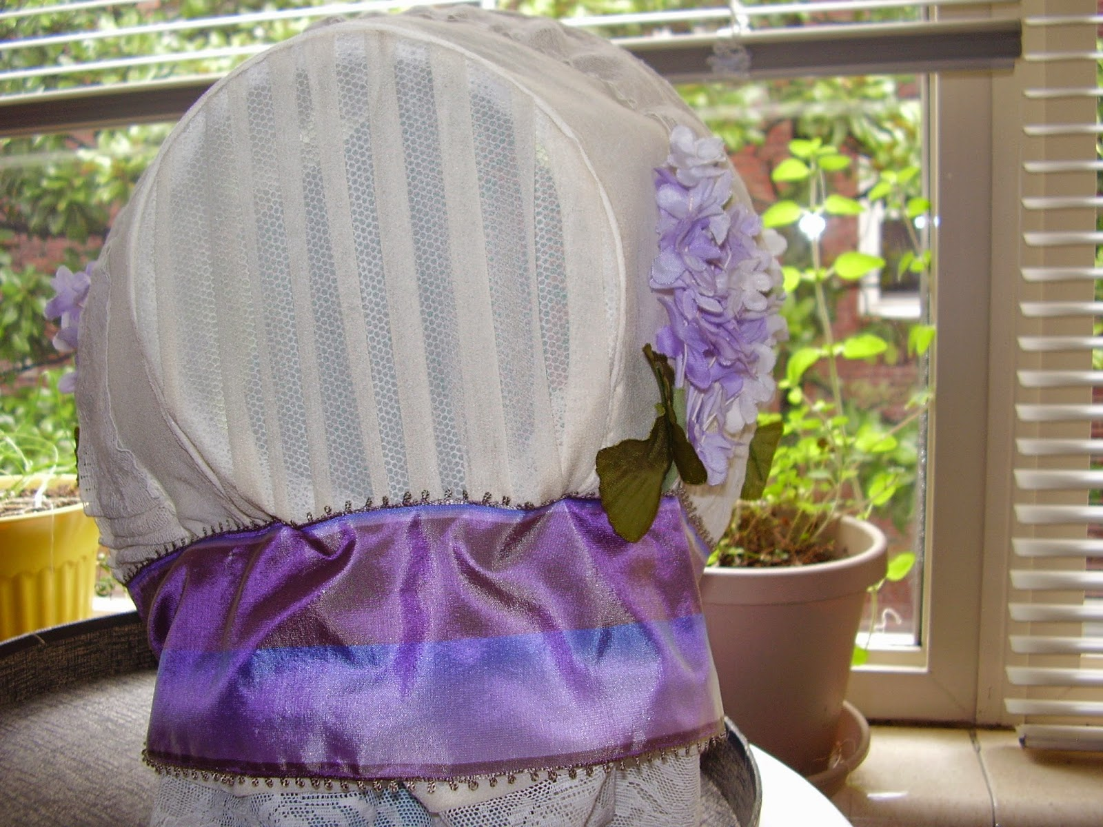 "Back view of ""Juliana Rose"" 1850s bonnet from Timely Tresses."