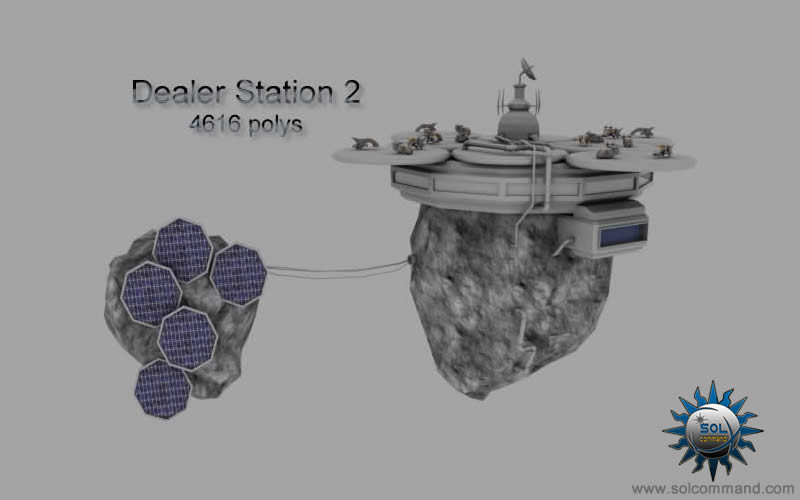 Dealer station asteroid base 3d model free download  solcommand spaceship seller customer concept art original