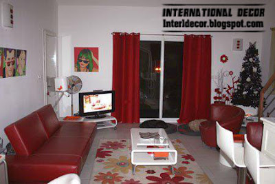 romantic red tones in living rooms decorations and red curtain
