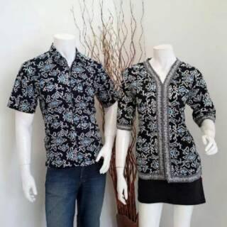 seragam batik blouse mega mendung hitam