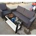 Thanh Lý Bộ Sofa Cũ Bọc Vải Màu Xám Đen