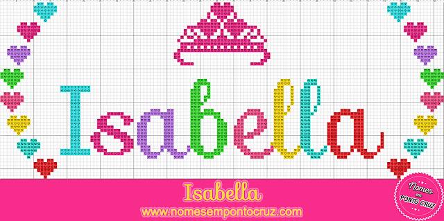 Nome Isabella em Ponto Cruz com coroa