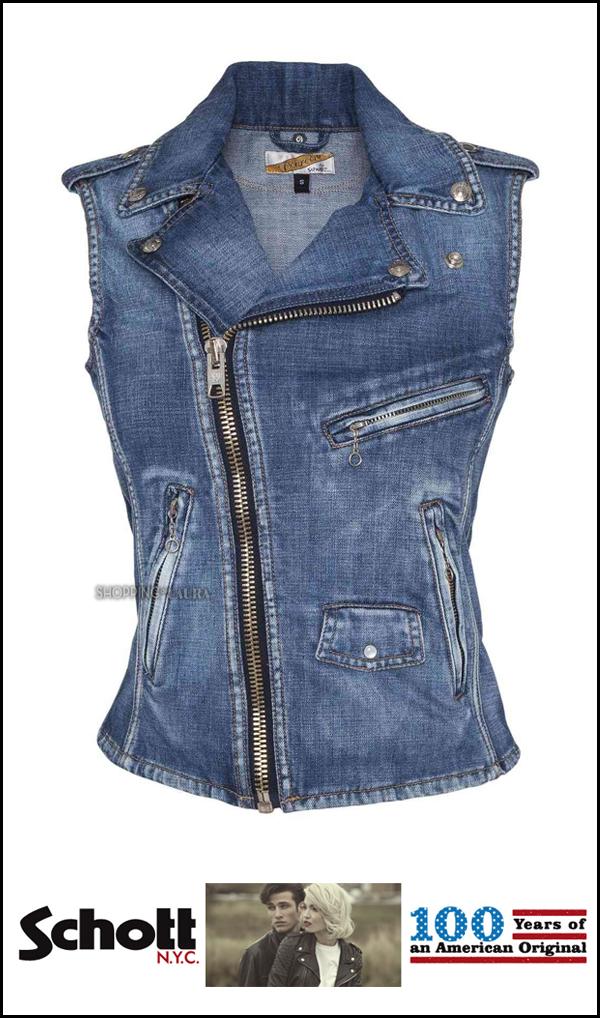 Gilet femme en jean bleu zippé SCHOTT trés pratique