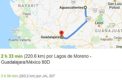 Mapa cartografico de carretera libre estatal 43 aguascalientes zacatecas a Guadalajara cuanta distancia