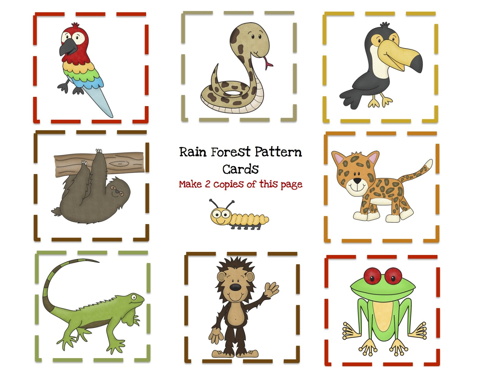 rain forest animal printable preschool printables. Black Bedroom Furniture Sets. Home Design Ideas