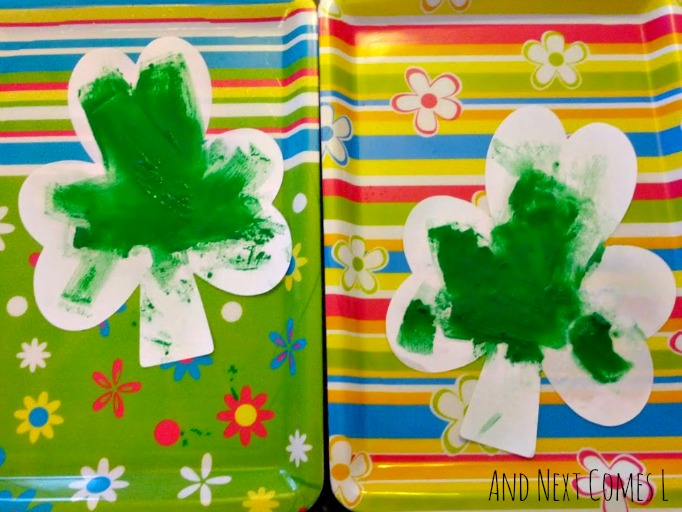 St. Patrick's Day fizzing shamrock art from And Next Comes L