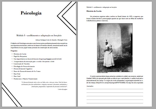 Imagens de 2 paginas de um projeto pessoal. Na direita a imagem de abertura do material e na esqueda o inicio do conteúdo.ra