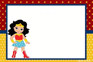 Para hacer invitaciones, tarjetas, marcos de fotos o etiquetas, para imprimir gratis de Mujer Maravilla Chibi.