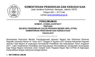 Berdasarkan dari Keputusan Menteri Pendayagunaan Aparatur Negara dan Reformasi Birokrasi  Juknis Seleksi Penerimaan CPNS Kemendikbud 2017