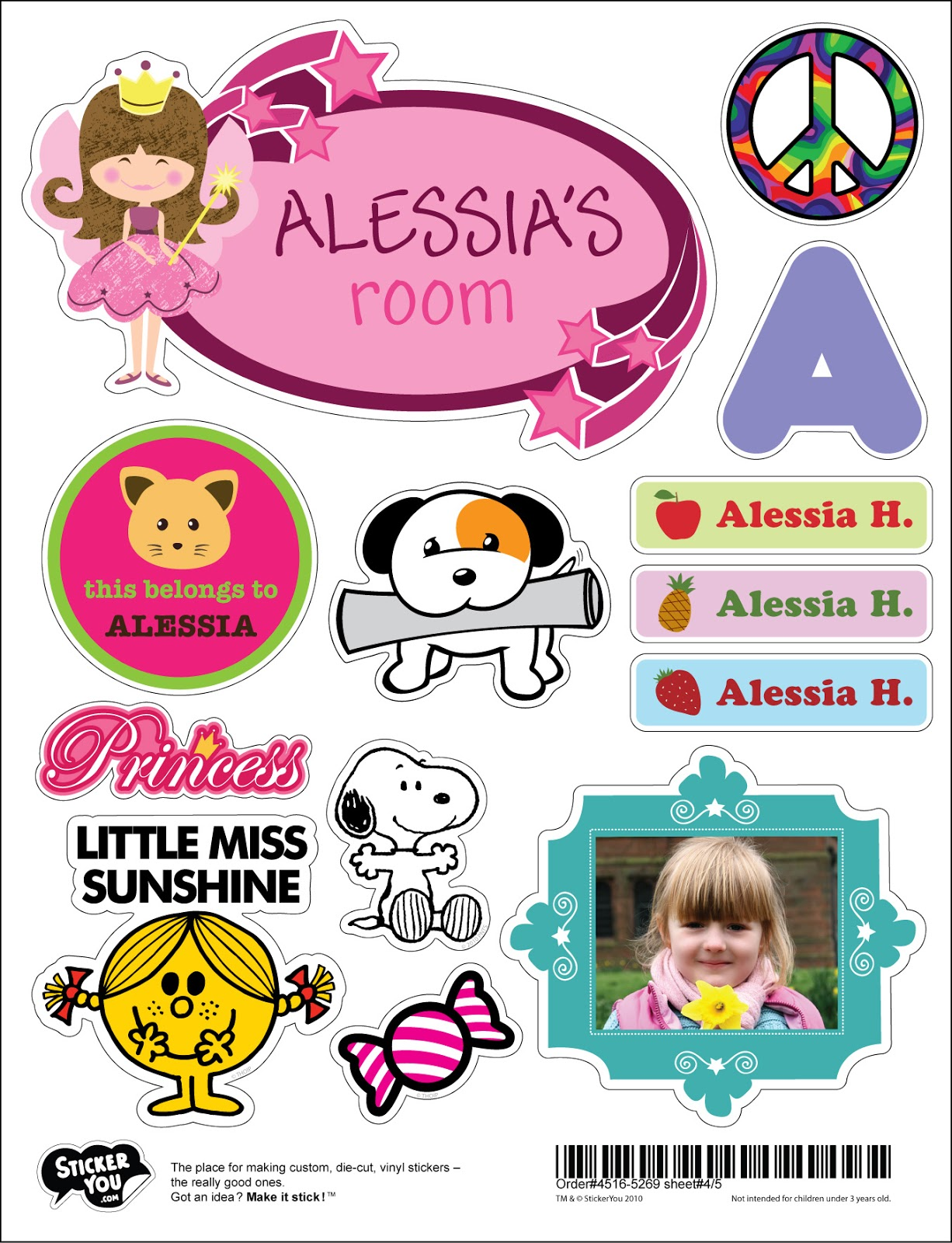 Birthday party for kids with free custom sticker templates