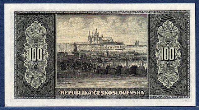 Czechoslovakian paper money 100 korun banknote bill