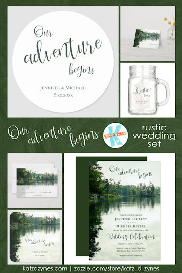 Our adventure begins rustic lakeside wedding invitations and coordinates from katz_d_zynes