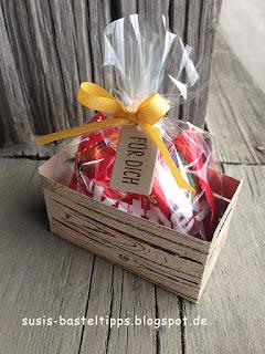 kleine Geschenkverpackung mit Stampin' Up! Framelits Holzkiste