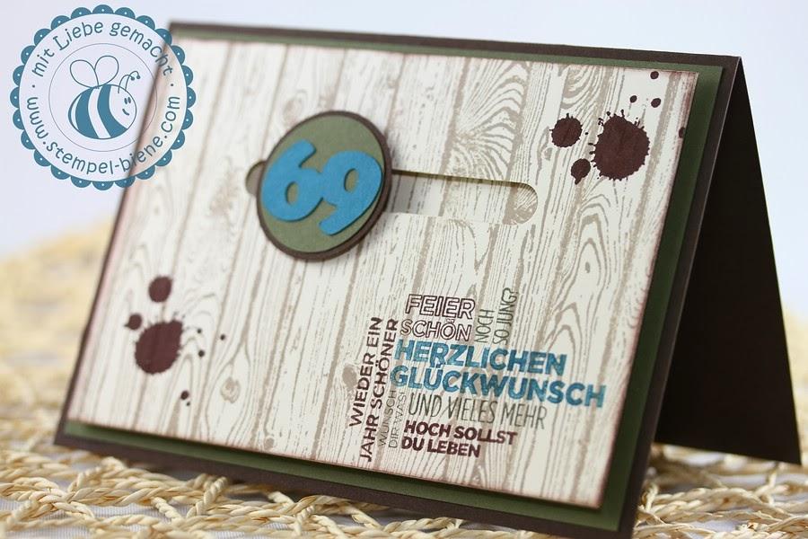 Geburtstagskarte Mann, 69. Geburtstag, Männerkarte, Kullerkarte, Stampin Up Hardwood, Ein duftes Dutzend, stampin up, Stempel-biene Recklinghausen, Stampin up demonstrator;