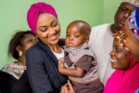 Photos: Zahra Buhari meets healthy-looking Musa who was brutalized by stepmum