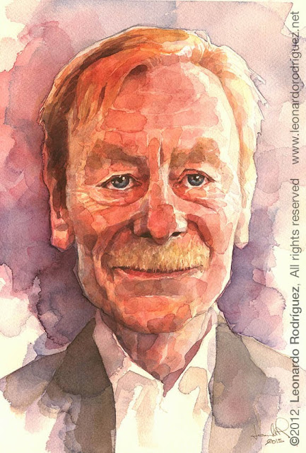 Otto Sander watercolor portrait