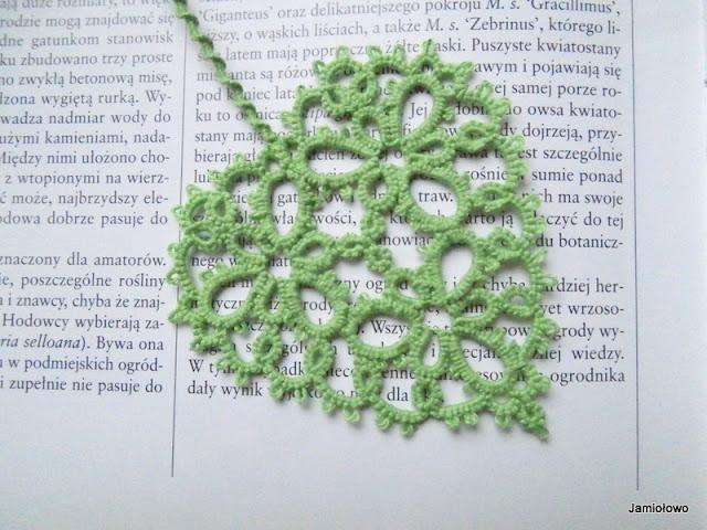 zielona frywolitkowa zakładka do książki