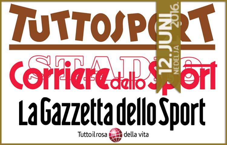 Italijanska štampa: 12. juni 2016. godine