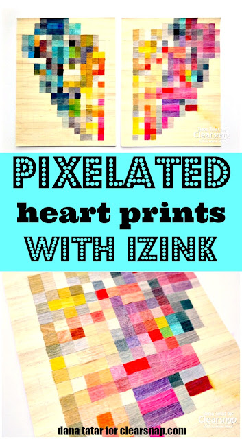 Pixelated Heart Prints with Izink Tutorial by Dana Tatar for Clearsnap