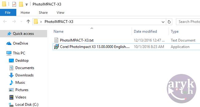 contain text file and software in the same folder