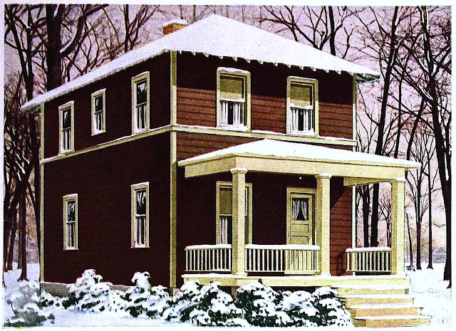 1933 home exterior in winter, color illustration