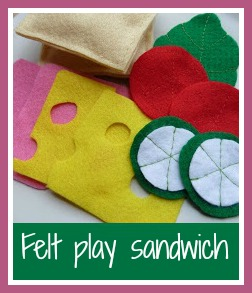 Felt play food sandwich for children