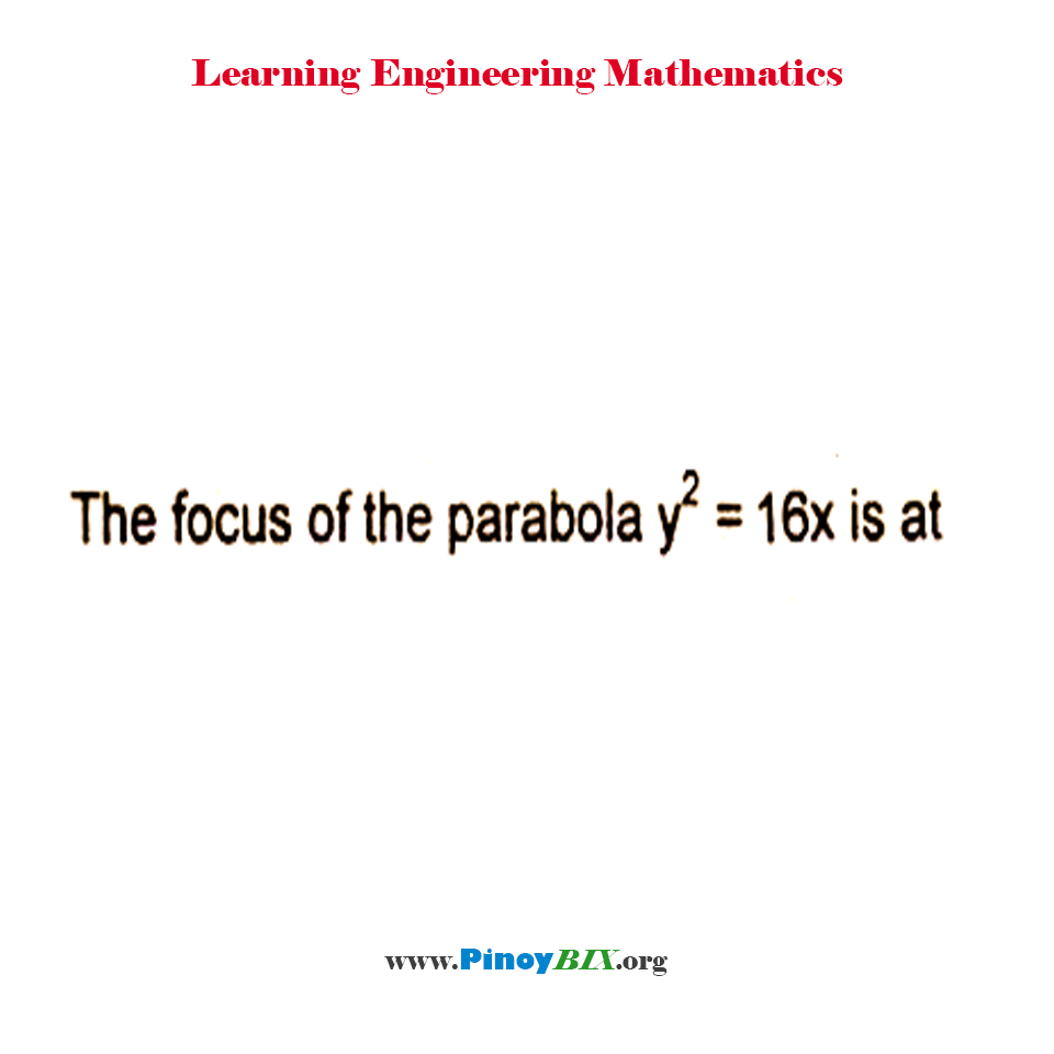 What is the focus of the parabola y^2 = 16x?
