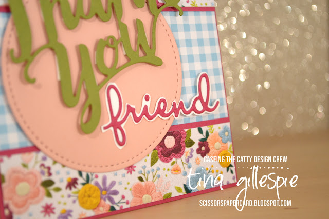 scissorspapercard, Stampin' Up!, CASEing The Catty, Needlepoint Nook DSP, Gingham Gala DSP, Thank You Thinlit, Well Said Bundle