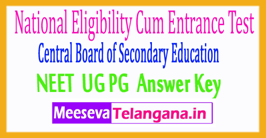 National Eligibility Cum Entrance Test NEET Answer Key 2018