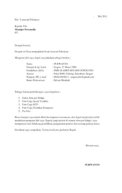 surat lamaran kerja bahasa inggris singkat