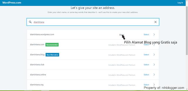 memilih domain gratis dari wordpress