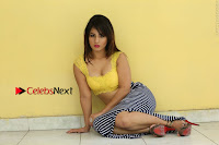 Cute Telugu Actress Shunaya Solanki High Definition Spicy Pos in Yellow Top and Skirt  0287.JPG