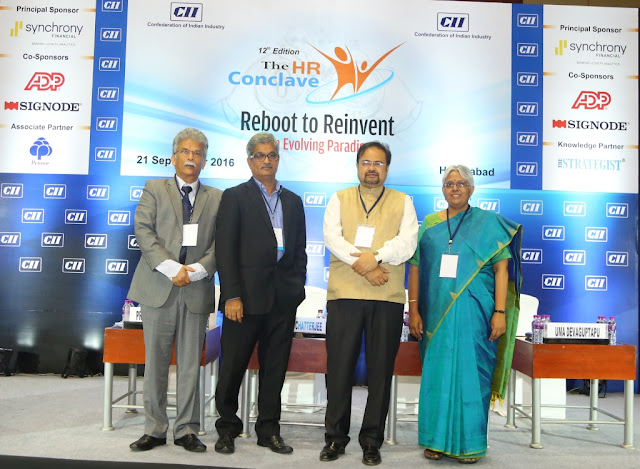 <L-R> Mr. Pradeep Dhoble, Past Chairman, CII Andhra Pradesh (Erstwhile); Mr. V Laxmikanth, Managing Director, Broadridge Financial Solutions (India) Pvt. Ltd.; Dr. Debashis Chatterjee, Professor, IIM Lucknow; Ms. Uma Devaguptapu, Convenor, CII Telangana HR & IR Panel and Director, HR, Signode Asiapac & MEA