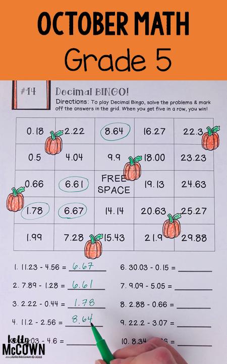 Kelly McCown: October NO PREP Math Packet - 5th Grade