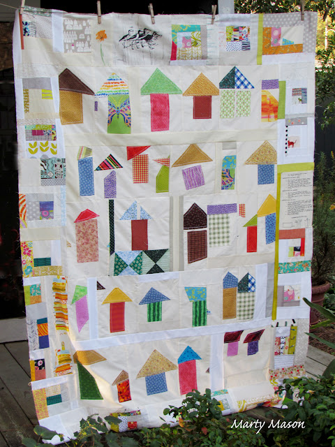 Improv To the Houses - a quilt by Marty Mason