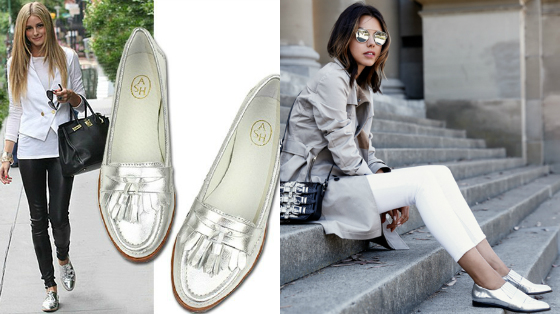 sapatos metalizados loafers