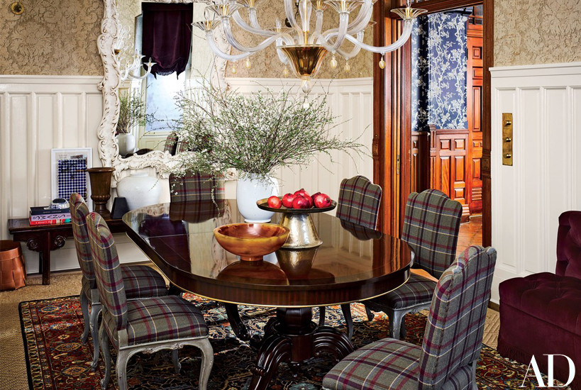 Jessica Chastain Dining Room with plaid chairs by Carrier and Company
