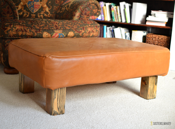 Ottoman make over with upholstery leather