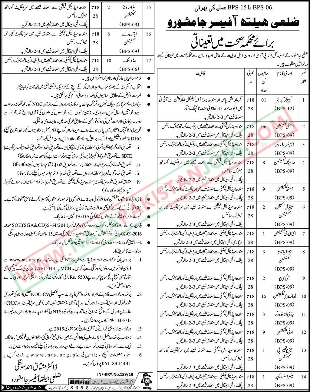 Health Department Jamshoro Jobs Jan 2019 | Jamshoro Health Department Jobs NTS Application form